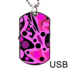 Pink abstract decor Dog Tag USB Flash (Two Sides)