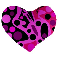 Pink abstract decor Large 19  Premium Heart Shape Cushions