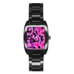 Pink abstract decor Stainless Steel Barrel Watch