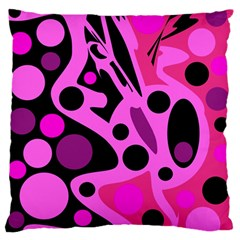 Pink abstract decor Large Flano Cushion Case (Two Sides)