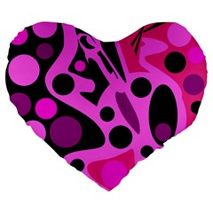 Pink abstract decor Large 19  Premium Flano Heart Shape Cushions