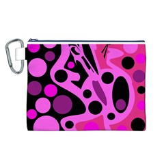 Pink abstract decor Canvas Cosmetic Bag (L)