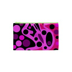 Pink abstract decor Cosmetic Bag (XS)