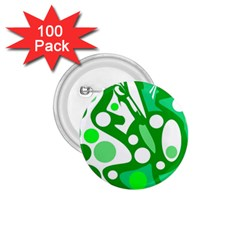White and green decor 1.75  Buttons (100 pack)
