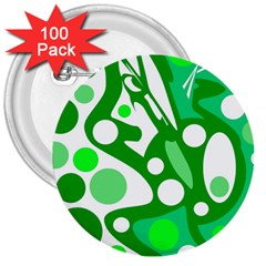 White and green decor 3  Buttons (100 pack)