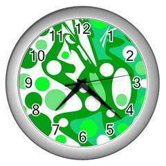 White and green decor Wall Clocks (Silver)
