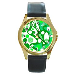 White and green decor Round Gold Metal Watch