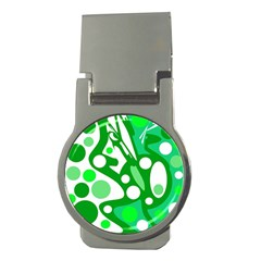 White and green decor Money Clips (Round)