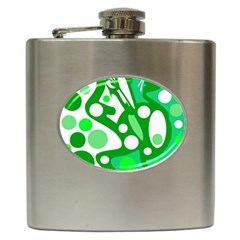 White and green decor Hip Flask (6 oz)