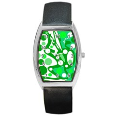 White and green decor Barrel Style Metal Watch