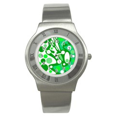 White and green decor Stainless Steel Watch