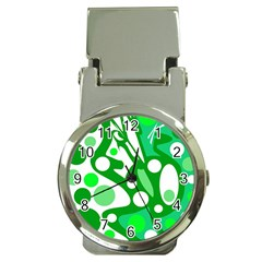 White and green decor Money Clip Watches