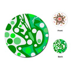 White and green decor Playing Cards (Round)