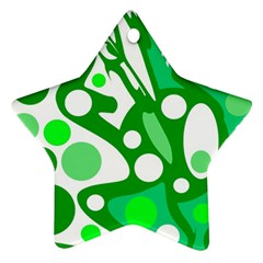 White and green decor Star Ornament (Two Sides)