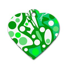 White and green decor Dog Tag Heart (Two Sides)