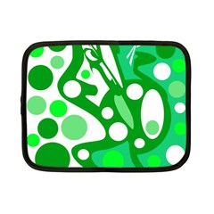 White and green decor Netbook Case (Small)