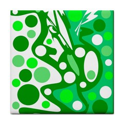 White and green decor Face Towel