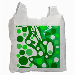 White and green decor Recycle Bag (One Side)