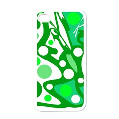 White and green decor Apple iPhone 4 Case (White)