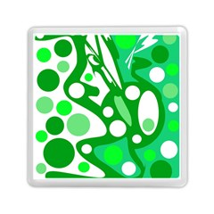 White and green decor Memory Card Reader (Square)