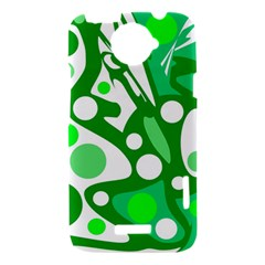 White and green decor HTC One X Hardshell Case