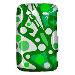 White and green decor HTC Wildfire S A510e Hardshell Case