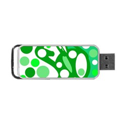 White and green decor Portable USB Flash (Two Sides)