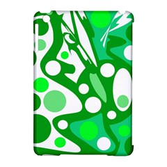 White and green decor Apple iPad Mini Hardshell Case (Compatible with Smart Cover)
