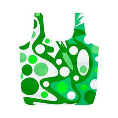 White and green decor Full Print Recycle Bags (M)