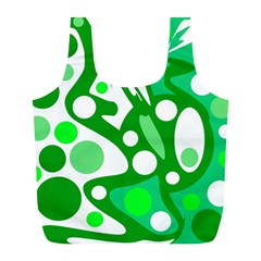 White and green decor Full Print Recycle Bags (L)
