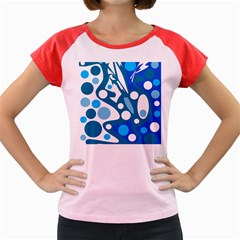 Blue and white decor Women s Cap Sleeve T-Shirt