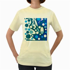 Blue and white decor Women s Yellow T-Shirt