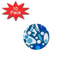 Blue and white decor 1  Mini Buttons (10 pack)