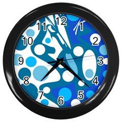 Blue and white decor Wall Clocks (Black)