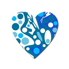 Blue and white decor Heart Magnet