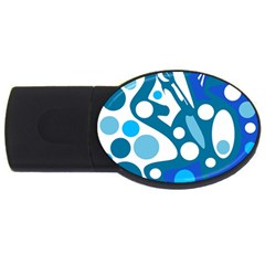 Blue and white decor USB Flash Drive Oval (2 GB)