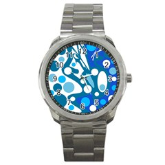 Blue and white decor Sport Metal Watch