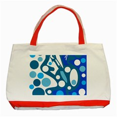 Blue and white decor Classic Tote Bag (Red)