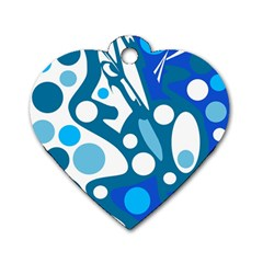Blue and white decor Dog Tag Heart (Two Sides)