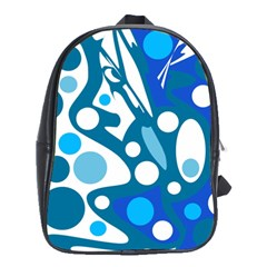 Blue and white decor School Bags(Large)