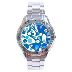 Blue and white decor Stainless Steel Analogue Watch