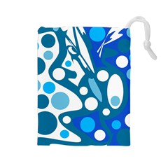 Blue and white decor Drawstring Pouches (Large)