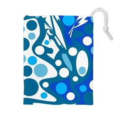 Blue and white decor Drawstring Pouches (Extra Large)