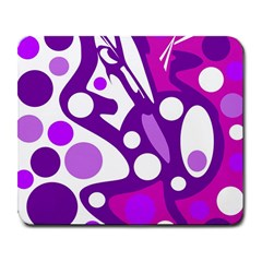 Purple and white decor Large Mousepads