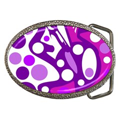 Purple and white decor Belt Buckles