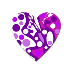 Purple and white decor Heart Magnet