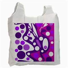 Purple and white decor Recycle Bag (One Side)
