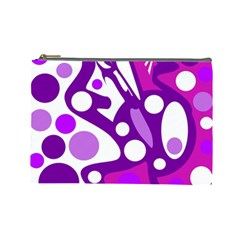 Purple and white decor Cosmetic Bag (Large)