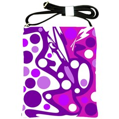 Purple and white decor Shoulder Sling Bags
