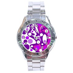 Purple and white decor Stainless Steel Analogue Watch